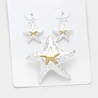 Hammered starfish pendant set