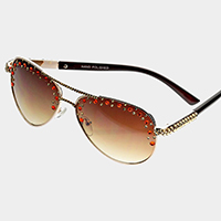 Crystal Accented Aviator Sunglasses
