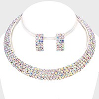 4-Row crystal rhinestone banded open choker necklace
