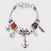 Multi Bead Anchor Charm Bracelet