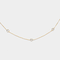 Cubic Zirconia Round Stationed Brass Metal Necklaces