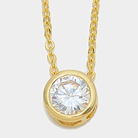 Round Crystal Cubic Zirconia CZ Pendant Necklace