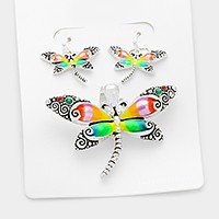 Lacquered dragonfly pendant set