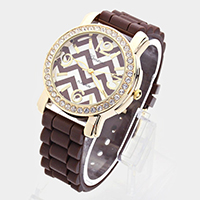 Round Crystal Lined Chevron Zigzag Silicon Watch