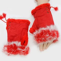 Fleece Lined Fur Trim Fingerless Gloves