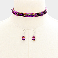 Faceted Beaded Y Shaped Necklace