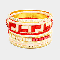 Crystal Enamel Geometric Multi Layered Bracelet