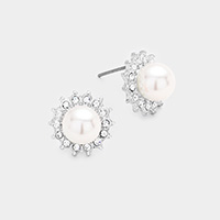 Rhinestone Pearl Stud Earrings