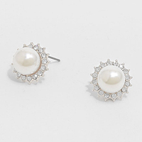 Crystal Trimmed Pearl Stud Earrings