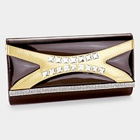 Crystal banded patent clutch bag with strap