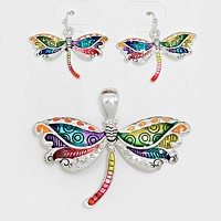 Colorful Dragonfly Pendant Set