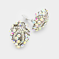 Crystal rhinestone pave starfish clip on earrings
