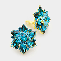 Glass crystal flower clip on earrings