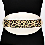 Oversized Leopard Rectangular Oval Elastic Stretchable Belt
