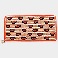 Orange Tone Leopard Crystal Wallet