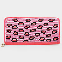 Pink Tone Leopard Crystal Wallet
