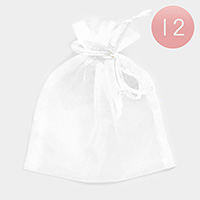 12 PCS - Ribboned Organza Gift Bags