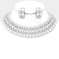 Pearl Crystal Rhinestone Collar Necklace & Clip Earring Set
