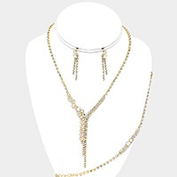 3-PCS Asymmetrical crystal rhinestone necklace jewelry set