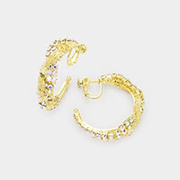 Crystal Rhinestone Chain Hoop Clip on Earrings