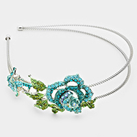 Crystal Flower Leaf Double Swirl Headband