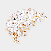 Glass crystal leaf brooch