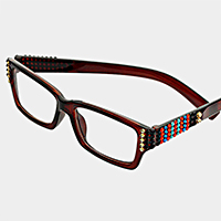Square Side Crystal Reading Glasses