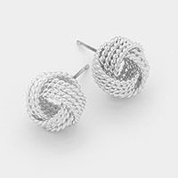 Textured metal love knot stud earrings
