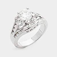 Prong Set CZ halo ring