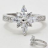 Prong Set Faceted Crystal Star Flake Sized Ring