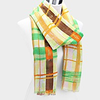 Viscose Plaid Pareo Spring Scarf