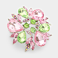 Glass Crystal Teardrop Wreath Brooch