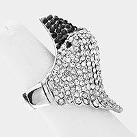 Crystal Pave Eagle Head Ring