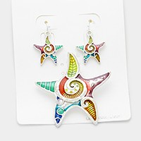 Lacquered starfish pendant set