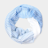 Striped Polyester Infinity Spring Scarf