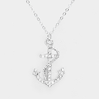 Crystal Pave Metal Anchor Pendant Necklace