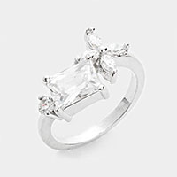 Prong Set CZ Flower Ring