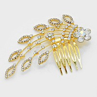 Marquise Floral Petal Crystal Hair Comb Stick