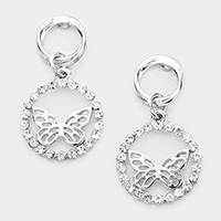 Crystal Round Butterfly Ring Earrings