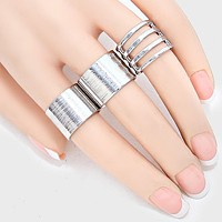 3-PCS Metal Cuff Ring Set
