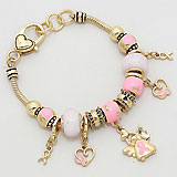 Multi-Bead Heart/ Pink Ribbon Bracelet
