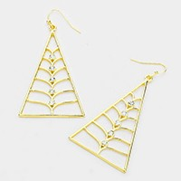 Crystal Accented Triangle Leaf Earrings
