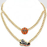 Lacquered Enamel Basketball Themed Charm Necklace