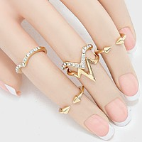Multi-Pieces Crystal Accented Metal Chevron Midi Ring Set