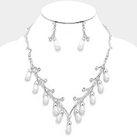 Crystal Pearl Branch Necklace
