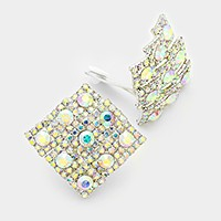 Glass crystal rhombus clip on earring