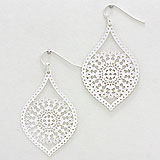 Metal Flower Filigree Dangle Earrings