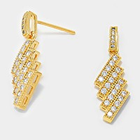 Crystal Pave Rectangle Cluster Stud Earrings