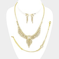 3-PCS Rhinestone necklace jewelry set