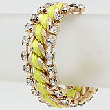 Crystal Accented Woven Link Bracelet